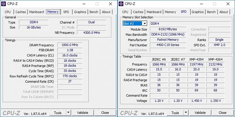 CPU-Z Patriot Viper Steel Series 16 GB 4400 MHz